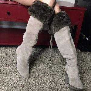 Grayish taupe rare b. Makowski over knee boots